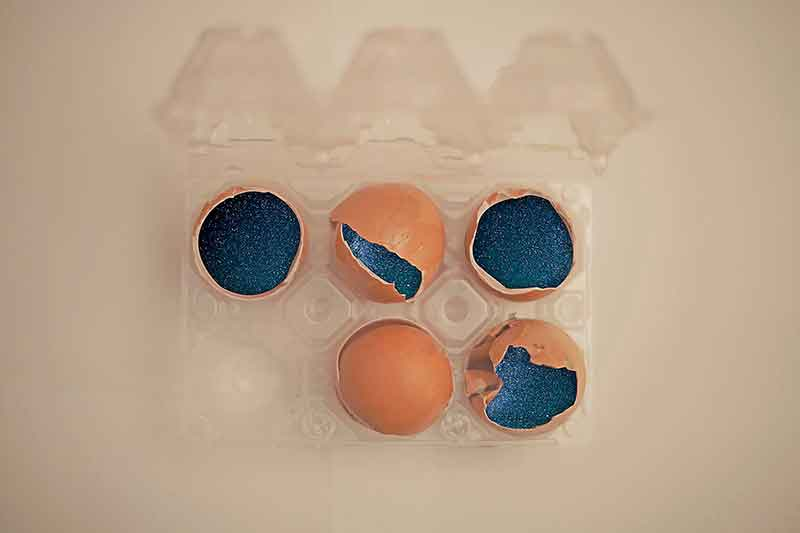 eggs with a starry sky inside